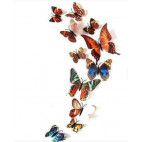 3D sommerfugle brun mix 12 stk