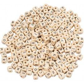 Træperler firkantet med bogstaver 1cm x 1cm