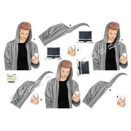 3D ark Dan Design 13663 dreng med mobil og pc