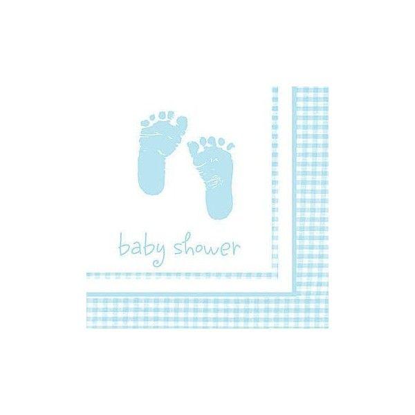 Servietter lyseblå med fødder, 1 stk