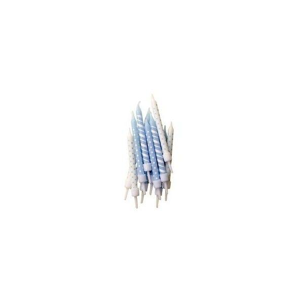 Lyseblå lagkagelys med striber og prikker
