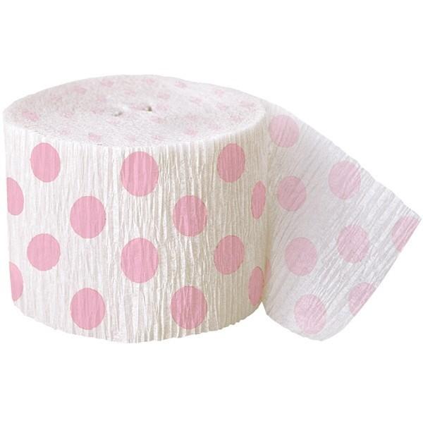 Crepepapir rulle, med lyserøde polkaprikker