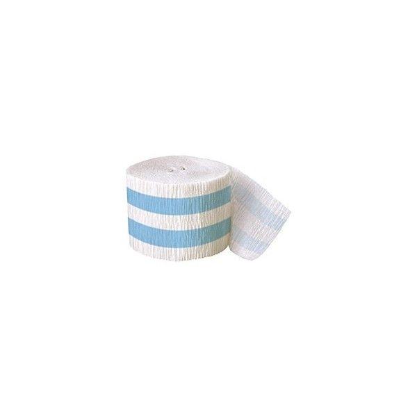 Crepepapir rulle, med lyseblå striber