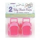 Barnedåbspynt lyserøde barnevogne