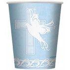 Lyseblå kopper med kors, 1 stk
