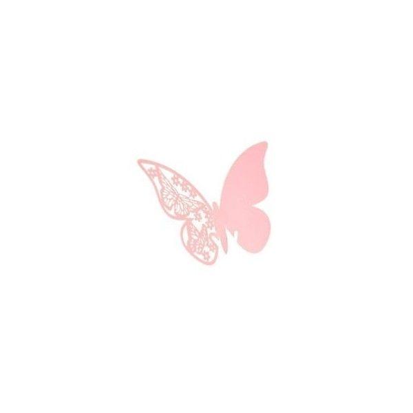 Bordkort til glas lyserøde sommerfugle 1 stk