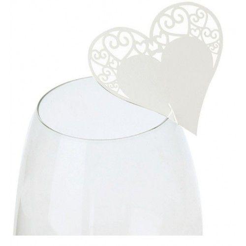 Bordkort til glas perlemorsfarvet hjerte med top mønster