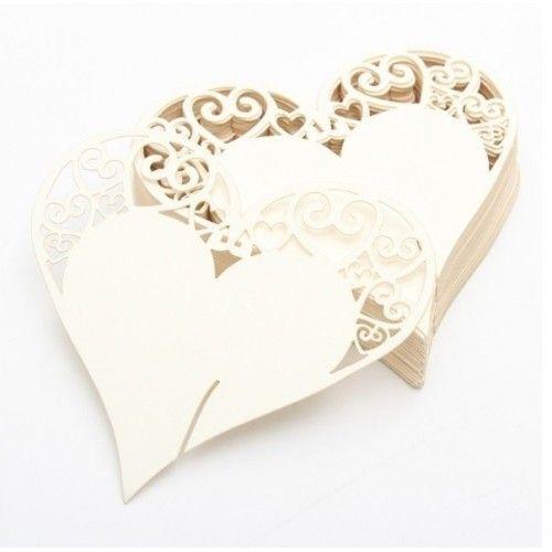 Bordkort til glas beige hjerte med topmønster 1 stk