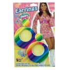 70'er regnbuefarvede øreringe