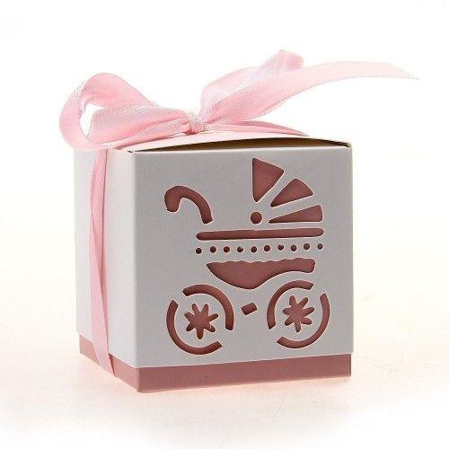 Barnedåbspynt lyserød gaveæske