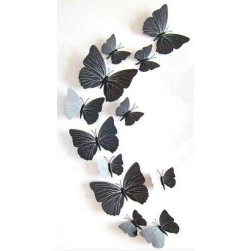 3D sommerfugle sorte