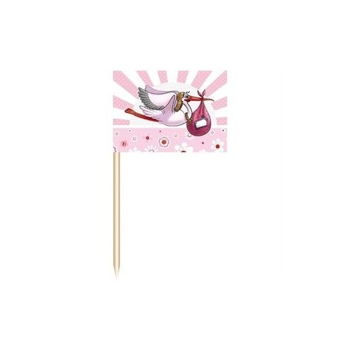 Barnedåbspynt små lyserøde flag