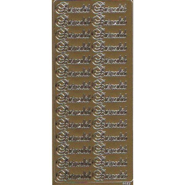 """Barnedåb stickers med """"Barnedåb"""" guld tekst"""