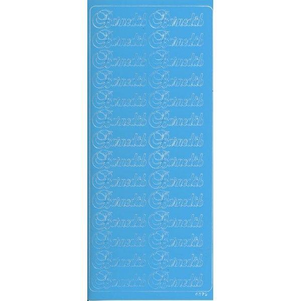 "Stickers med lyseblå ""Barnedåb"" tekst"