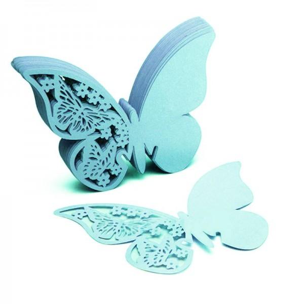 Bordkort til glas blågrøn sommerfugl