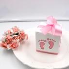 Barnedåbspynt lyserød gaveæske babyfødder