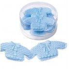 Barnedåbspynt hæklet trøje i lyseblå