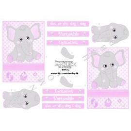 3D-ark-pige-barnedåb-elefant
