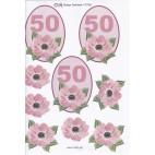 3D ark til 50 år fødselsdag, lyserød