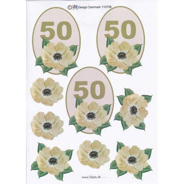 3D ark til 50 år fødselsdag, gul
