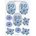 3D ark til 60 år fødselsdag, blå