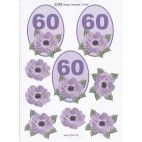 3D ark til 60 år fødselsdag, lilla