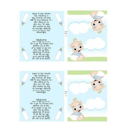 Barnedåb bordkort med dreng