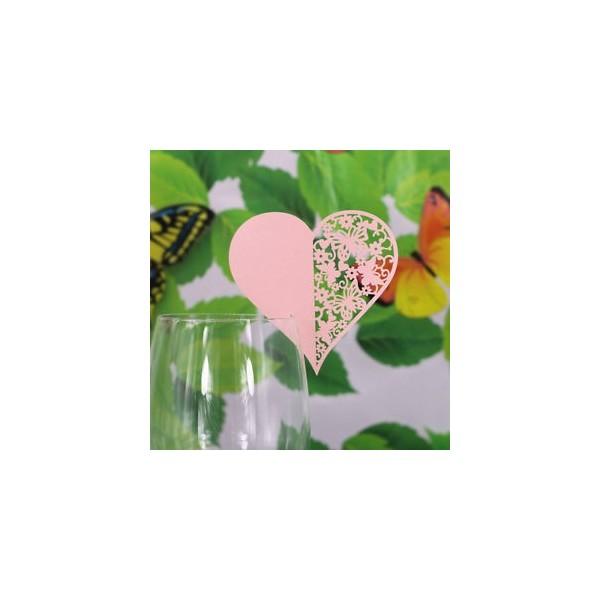 Bordkort til glas lyserødt hjerte form