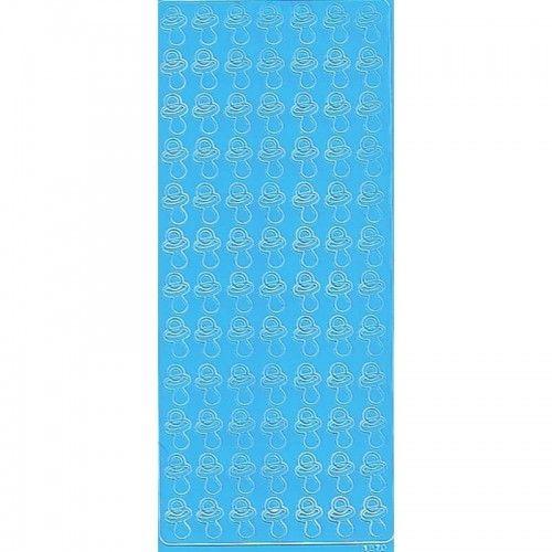 Stickers med lyseblå sutter