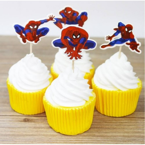 Spiderman cupcake pynt