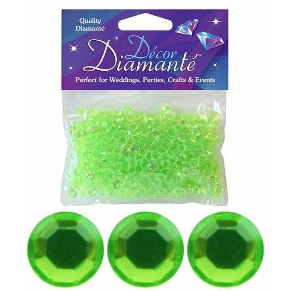 Pynte diamanter, lime grøn, 6mm