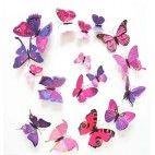 3D sommerfugle lilla/lyserød