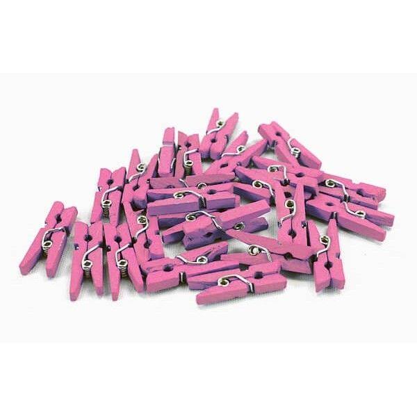 Små lyserøde mini tøjklemmer