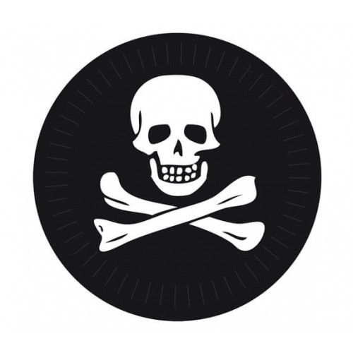 Pirat paptallerken 23 cm, 6 stk