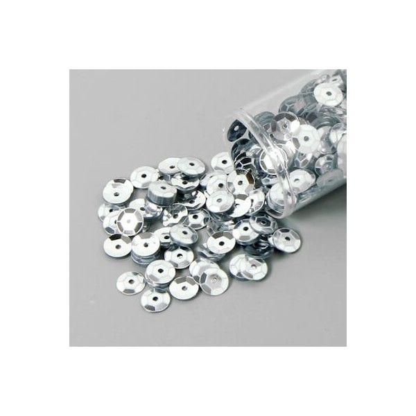 Pailletter, sølv, 6mm