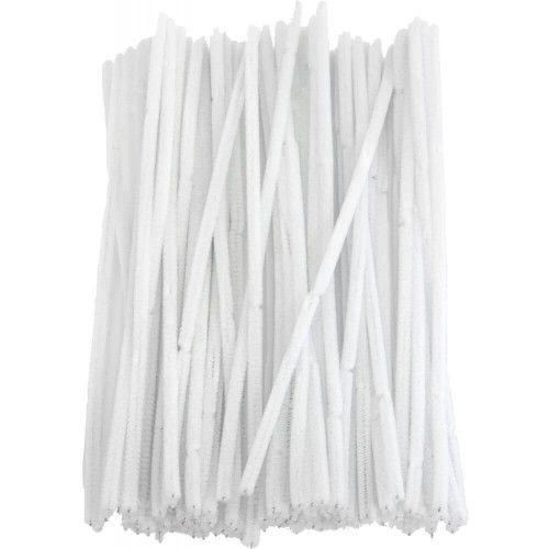 Chenille piberensere hvid 6mm 30cm