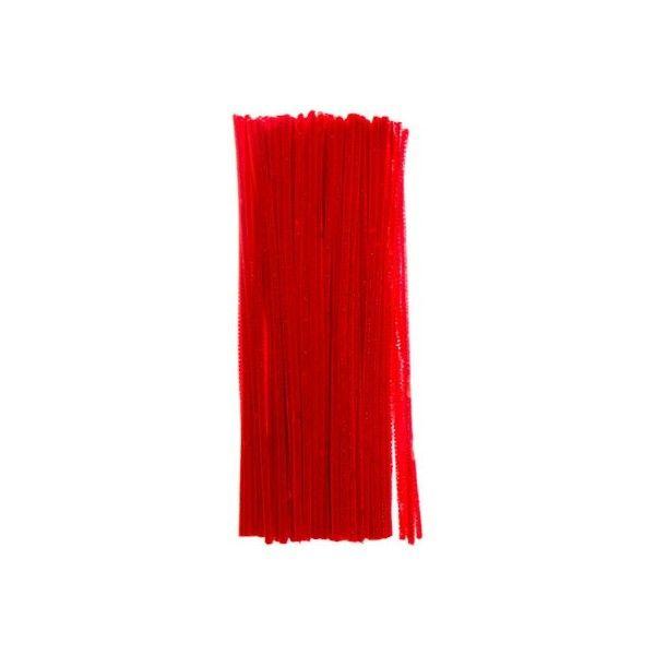 Chenille piberensere rød 6mm 30cm