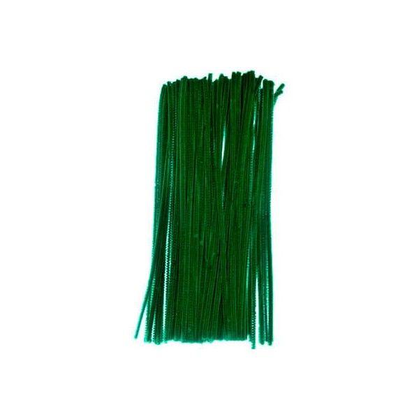 Chenille piberenser grøn 6mm 30cm