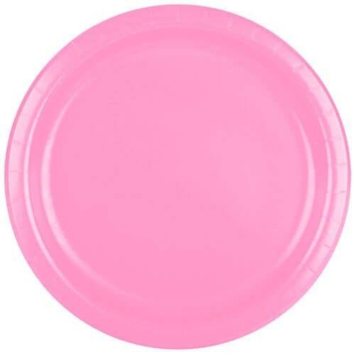 Lyserød paptallerken, 1 stk
