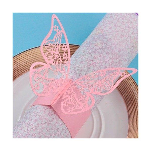 Servietringe lyserøde med sommerfugl, 1 stk