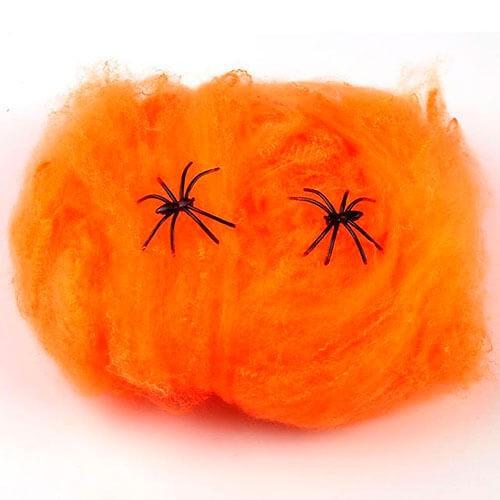 Orange edderkoppespind - Halloween pynt