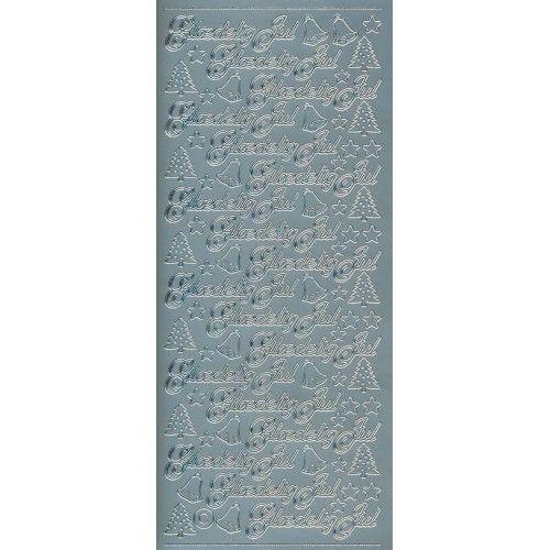 Stickers med glædelig jul sølv 654