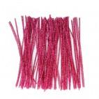 Chenille piberenser lyserøde glimmer 6mm 30cm 10 stk