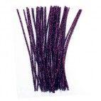 Chenille piberensere lilla glimmer 6mm 30cm 10 stk