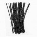 Chenille piberensere sorte glimmer 5mm 30cm 10 stk
