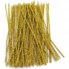 Chenille piberensere guld glimmer 6mm 30cm 15 stk