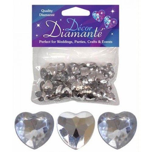 Diamanter, sølv hjerte, 12mm