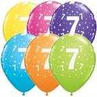 Tal balloner nummer 7, 5 stk, pigefødselsdag