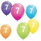 Tal balloner nummer 7, 5 stk, drengefødselsdag
