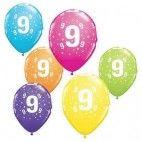 Tal balloner nummer 9, 5 stk, pigefødselsdag